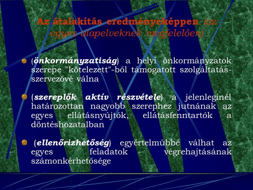 Az átalakítás eredményeképpen (az egyes alapelveknek megfelelően) ( önkormányzatiság ) a helyi önkormányzatok szerepe