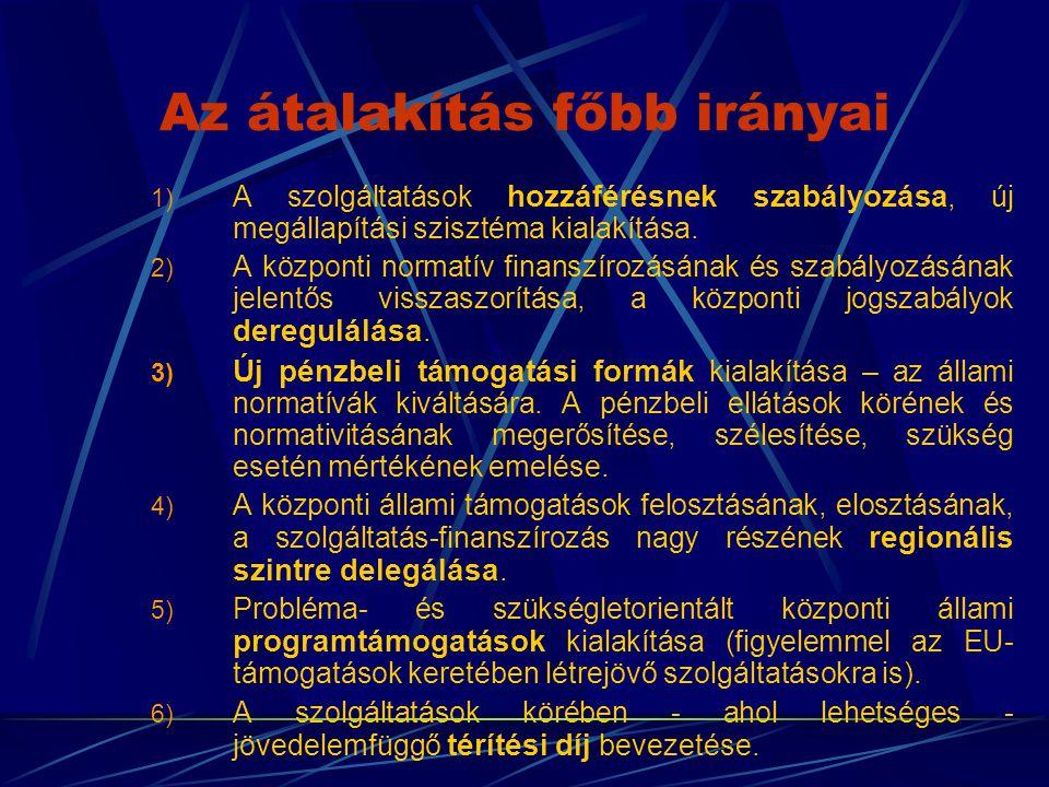 Az átalakítás főbb irányai 1) A szolgáltatások hozzáférésnek szabályozása, új megállapítási szisztéma kialakítása. 2) A központi normatív finanszírozá