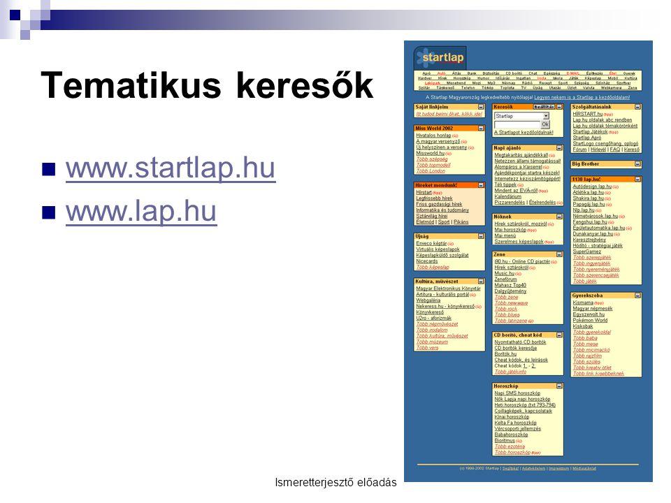 Ismeretterjesztő előadás Tematikus keresők  www.startlap.hu www.startlap.hu  www.lap.hu www.lap.hu