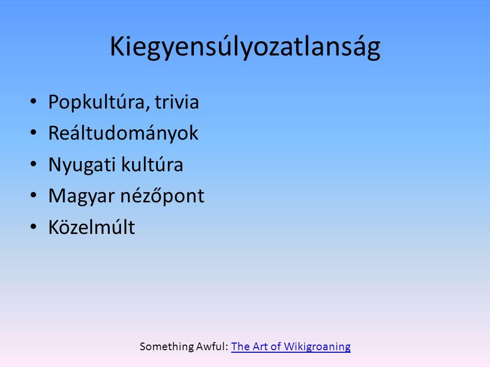 Kiegyensúlyozatlanság • Popkultúra, trivia • Reáltudományok • Nyugati kultúra • Magyar nézőpont • Közelmúlt Something Awful: The Art of WikigroaningThe Art of Wikigroaning