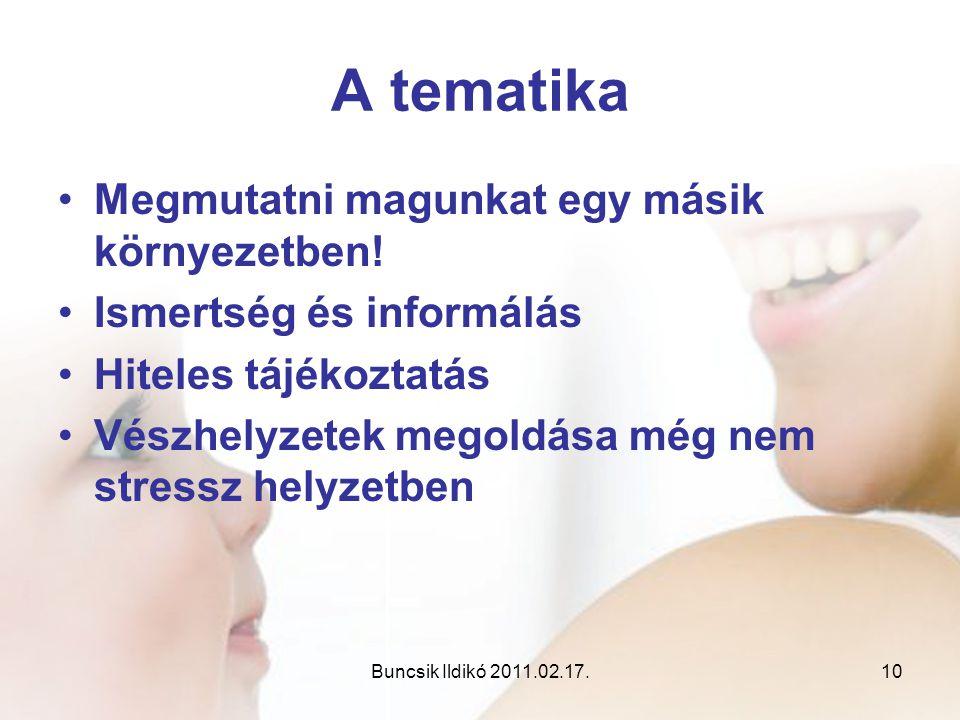 Buncsik Ildikó 2011.02.17.10 A tematika •Megmutatni magunkat egy másik környezetben! •Ismertség és informálás •Hiteles tájékoztatás •Vészhelyzetek meg