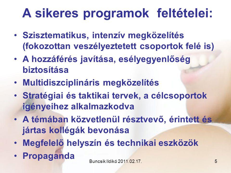 Buncsik Ildikó 2011.02.17.5 A sikeres programok feltételei: •Szisztematikus, intenzív megközelítés (fokozottan veszélyeztetett csoportok felé is) •A h