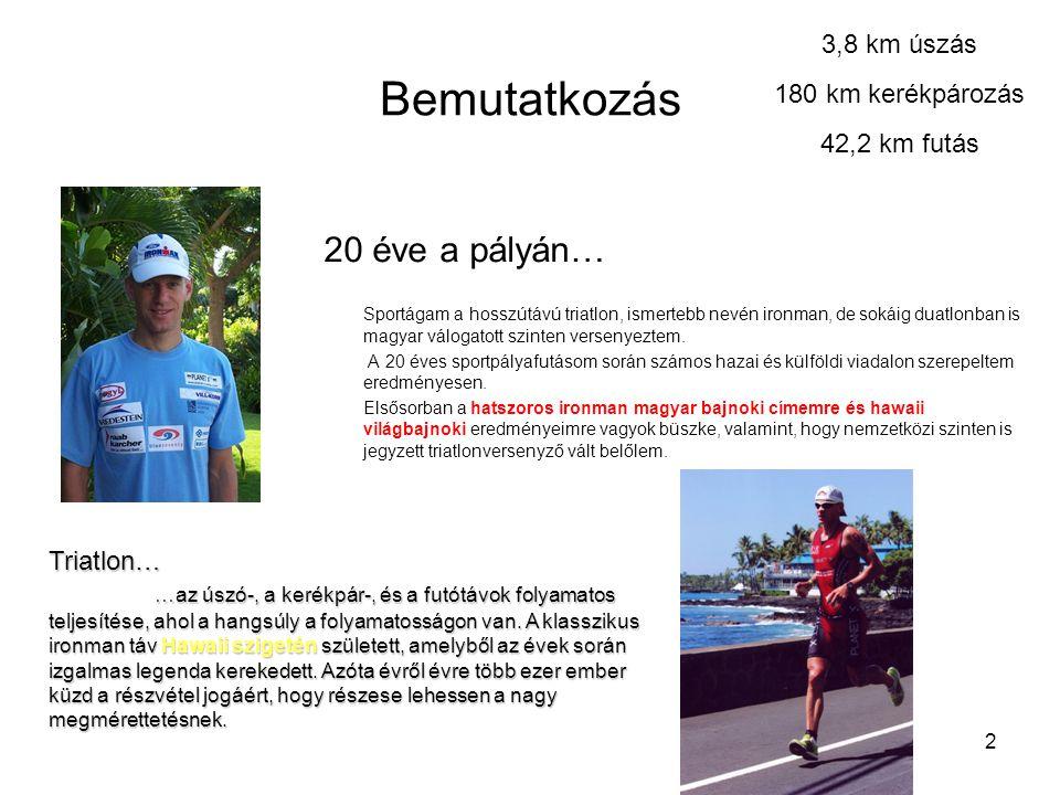 2 Bemutatkozás 20 éve a pályán… Sportágam a hosszútávú triatlon, ismertebb nevén ironman, de sokáig duatlonban is magyar válogatott szinten versenyeztem.