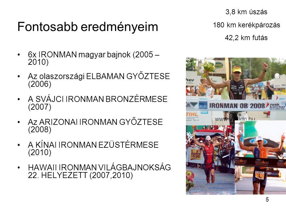 5 Fontosabb eredményeim •6x IRONMAN magyar bajnok (2005 – 2010) •Az olaszországi ELBAMAN GYŐZTESE (2006) •A SVÁJCI IRONMAN BRONZÉRMESE (2007) •Az ARIZONAI IRONMAN GYŐZTESE (2008) •A KÍNAI IRONMAN EZÜSTÉRMESE (2010) •HAWAII IRONMAN VILÁGBAJNOKSÁG 22.