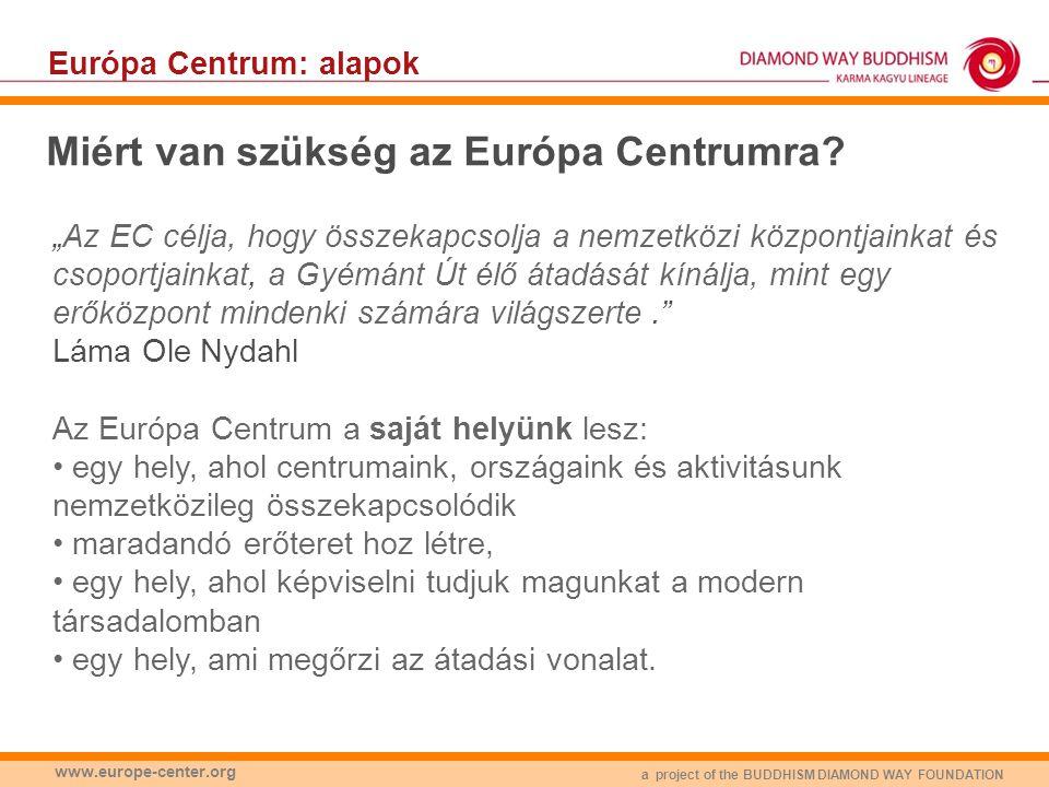 a project of the BUDDHISM DIAMOND WAY FOUNDATION www.europe-center.org Európa Centrum: alapok Hogyan fogjuk használni az Európa Centrumot.