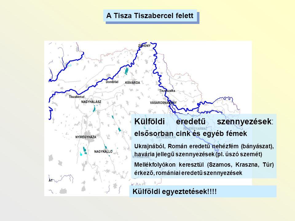 A Tisza Tiszabercel felett Külföldi eredetű szennyezések: elsősorban cink és egyéb fémek Ukrajnából, Román eredetű nehézfém (bányászat), havária jelle