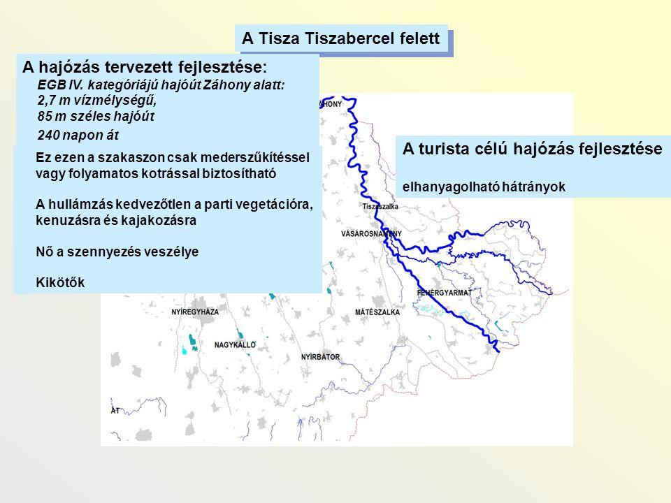 A Tisza Tiszabercel felett A hajózás tervezett fejlesztése: EGB IV. kategóriájú hajóút Záhony alatt: 2,7 m vízmélységű, 85 m széles hajóút 240 napon á