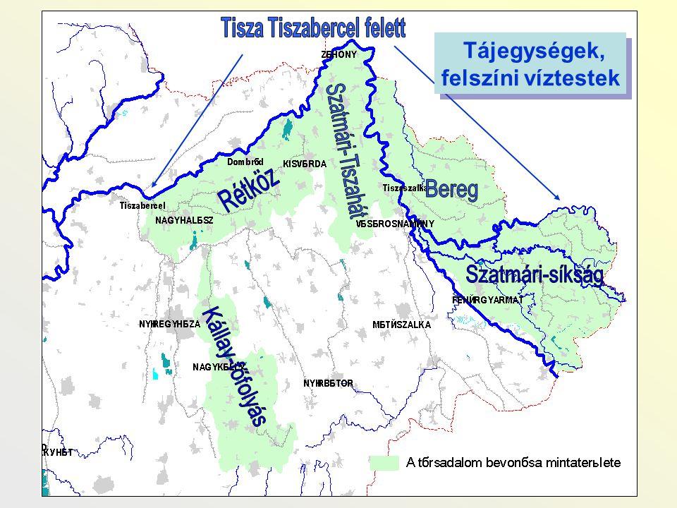 Néhány kiemelt probléma tájegységenként A nyírségi beszivárgási terület: - Belvízelvezetés, vizenyős területek lecsapolása - Felszín alatti vízkészleteket veszélyeztető szennyezett beszivárgás (szántóföld, település, állattartótelep, hulladéklerakó, ipari és mezőgazdasági létesítmények) - 27 település ivóvízminősége nem megfelelő