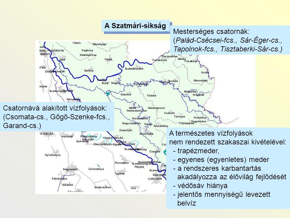 Csatornává alakított vízfolyások: (Csomata-cs., Gőgő-Szenke-fcs., Garand-cs.) A Szatmári-síkság Mesterséges csatornák: (Palád-Csécsei-fcs., Sár-Éger-c