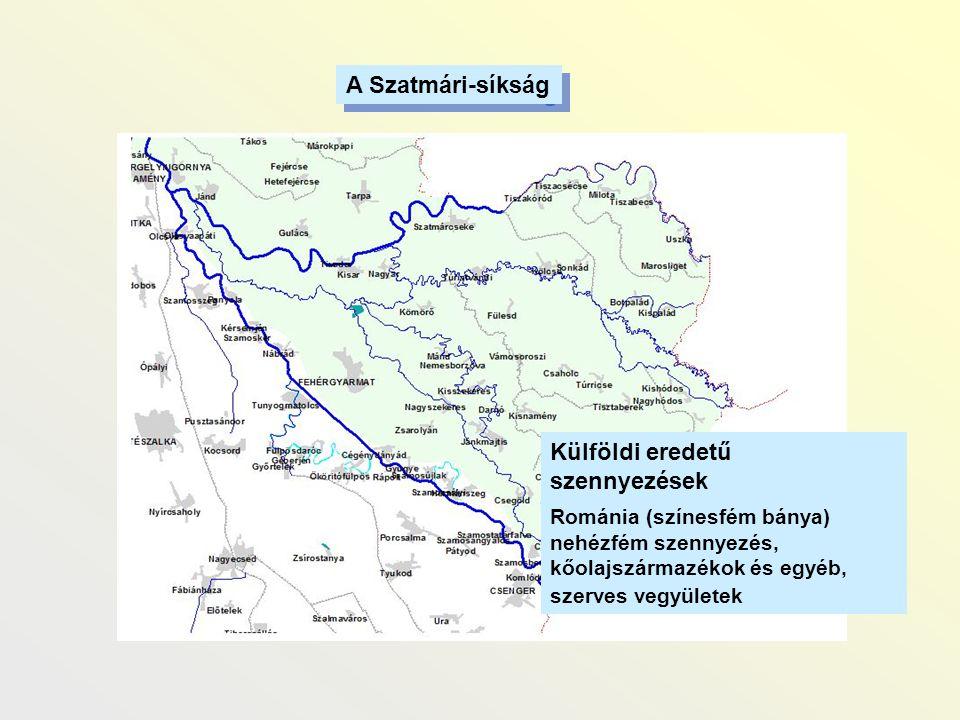 A Szatmári-síkság Külföldi eredetű szennyezések Románia (színesfém bánya) nehézfém szennyezés, kőolajszármazékok és egyéb, szerves vegyületek