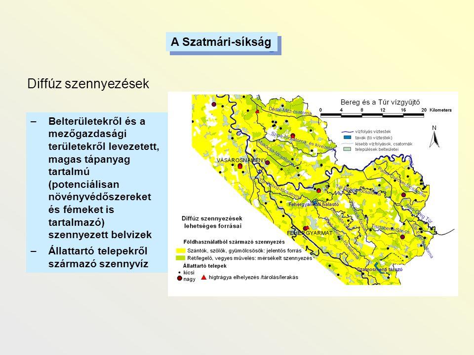 A Szatmári-síkság Diffúz szennyezések –Belterületekről és a mezőgazdasági területekről levezetett, magas tápanyag tartalmú (potenciálisan növényvédősz