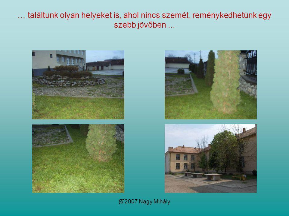  2007 Nagy Mihály … találtunk olyan helyeket is, ahol nincs szemét, reménykedhetünk egy szebb jövőben...