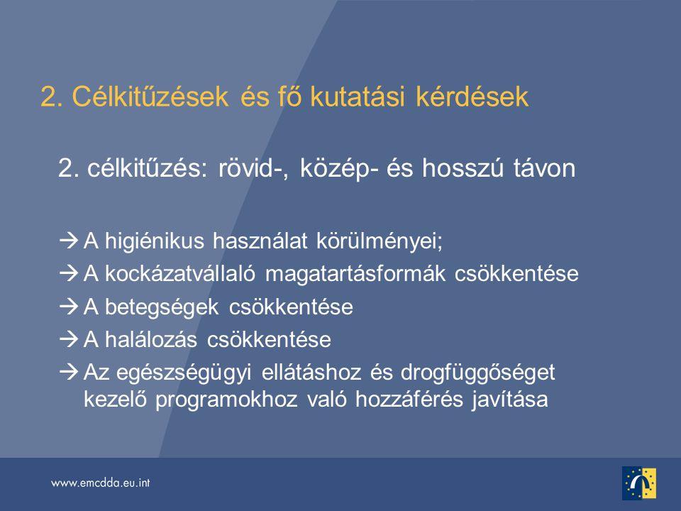 2. Célkitűzések és fő kutatási kérdések 2. célkitűzés: rövid-, közép- és hosszú távon  A higiénikus használat körülményei;  A kockázatvállaló magata