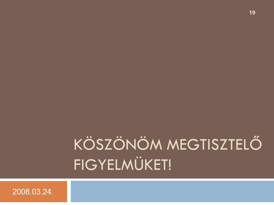 KÖSZÖNÖM MEGTISZTELŐ FIGYELMÜKET! 2008.03.24. 19