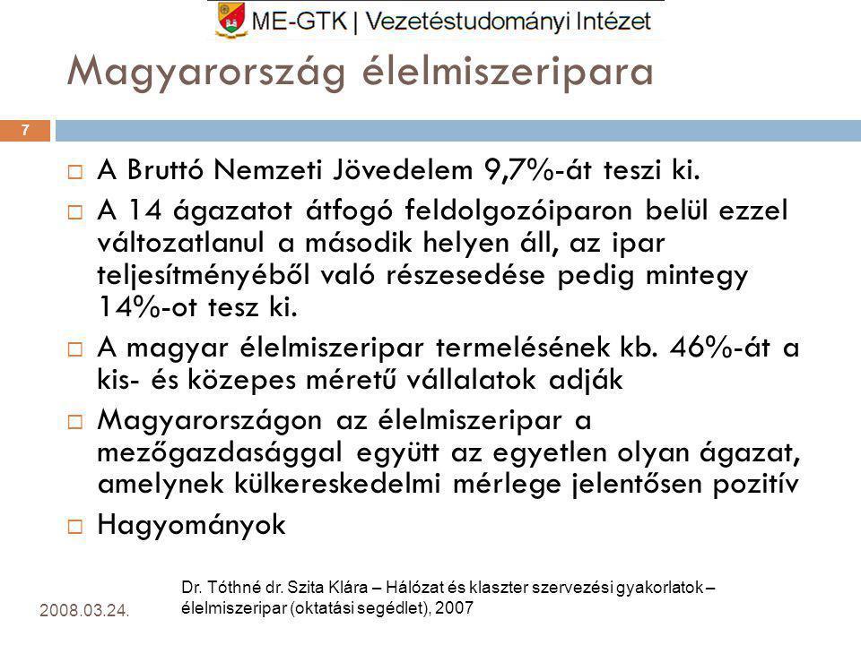 Magyarország élelmiszeripara 2008.03.24.7  A Bruttó Nemzeti Jövedelem 9,7%-át teszi ki.