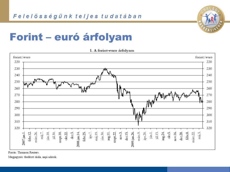 F e l e l ő s s é g ü n k t e l j e s t u d a t á b a n Forint – euró árfolyam