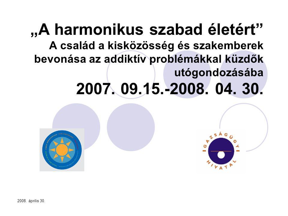 """2008. április 30. """"A harmonikus szabad életért"""" A család a kisközösség és szakemberek bevonása az addiktív problémákkal küzdők utógondozásába 2007. 09"""
