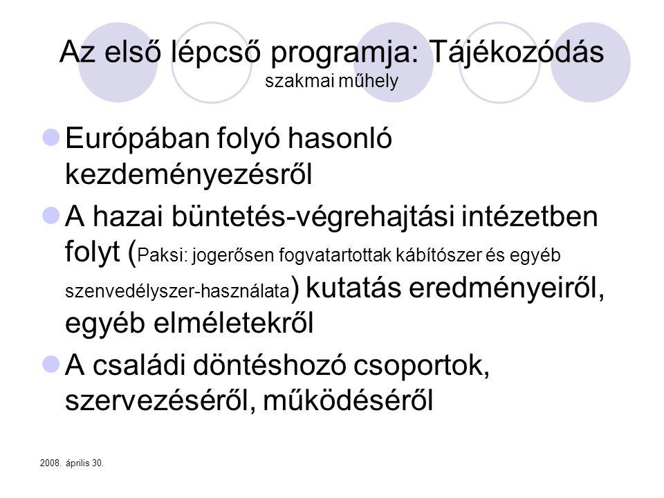 2008. április 30. Az első lépcső programja: Tájékozódás szakmai műhely  Európában folyó hasonló kezdeményezésről  A hazai büntetés-végrehajtási inté