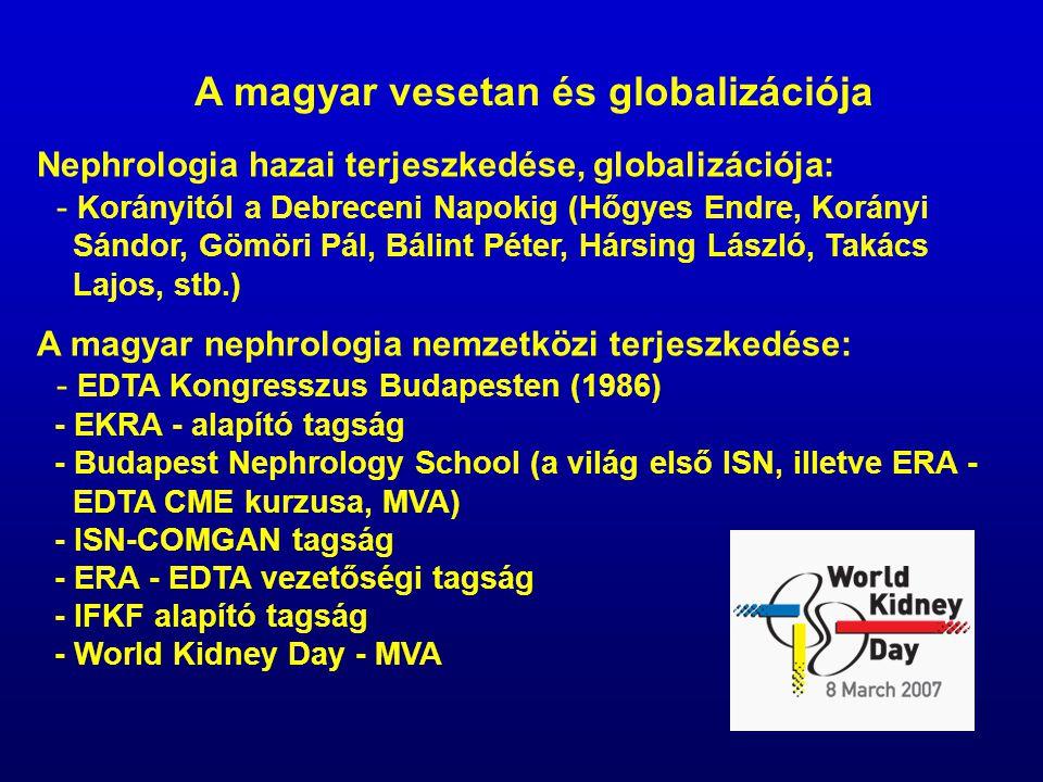 A magyar vesetan és globalizációja Nephrologia hazai terjeszkedése, globalizációja: - Korányitól a Debreceni Napokig (Hőgyes Endre, Korányi Sándor, Gö