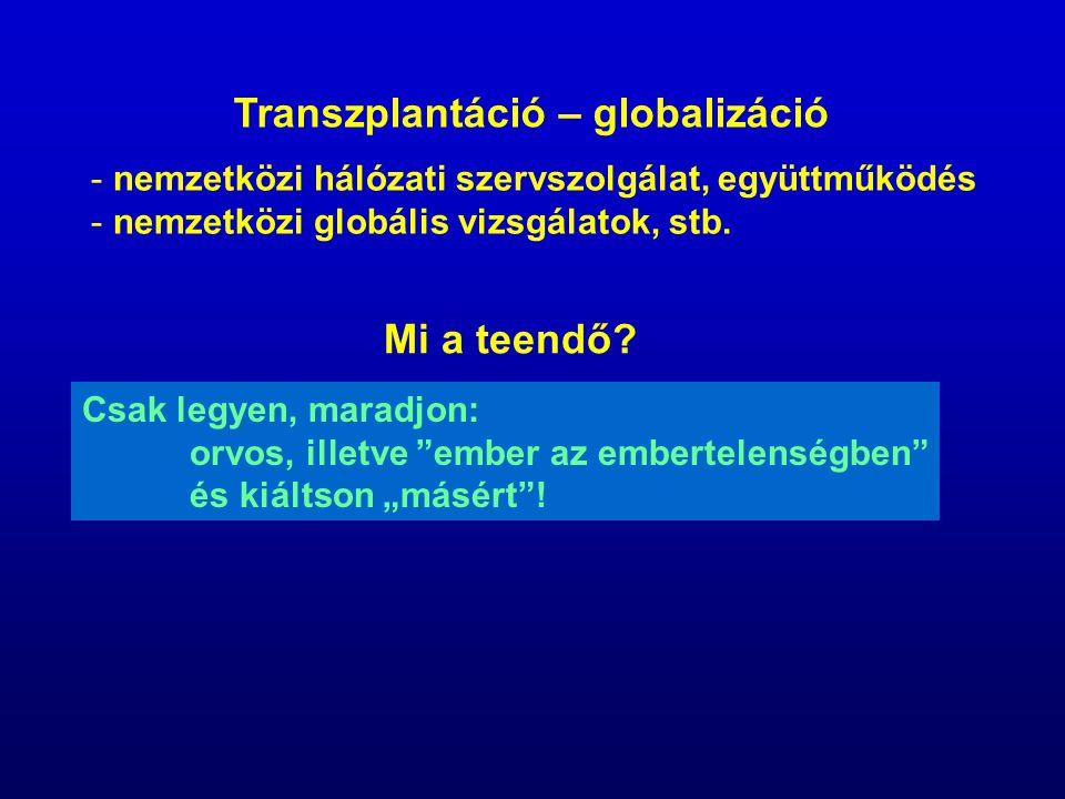 - nemzetközi hálózati szervszolgálat, együttműködés - nemzetközi globális vizsgálatok, stb. Transzplantáció – globalizáció Mi a teendő? Csak legyen, m