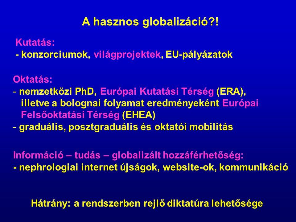 Kutatás: - konzorciumok, világprojektek, EU-pályázatok Oktatás: - nemzetközi PhD, Európai Kutatási Térség (ERA), illetve a bolognai folyamat eredménye