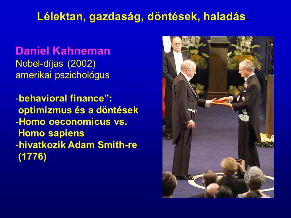 "Daniel Kahneman Nobel-díjas (2002) amerikai pszichológus -behavioral finance"": optimizmus és a döntések -Homo oeconomicus vs. Homo sapiens -hivatkozik"