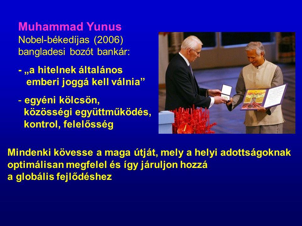 """Muhammad Yunus Nobel-békedíjas (2006) bangladesi bozót bankár: - """"a hitelnek általános emberi joggá kell válnia"""" - egyéni kölcsön, közösségi együttműk"""