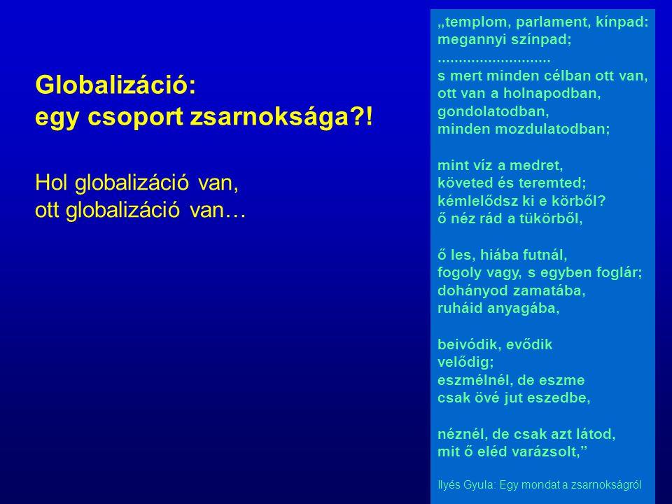 """Globalizáció: egy csoport zsarnoksága?! Hol globalizáció van, ott globalizáció van… """"templom, parlament, kínpad: megannyi színpad;...................."""
