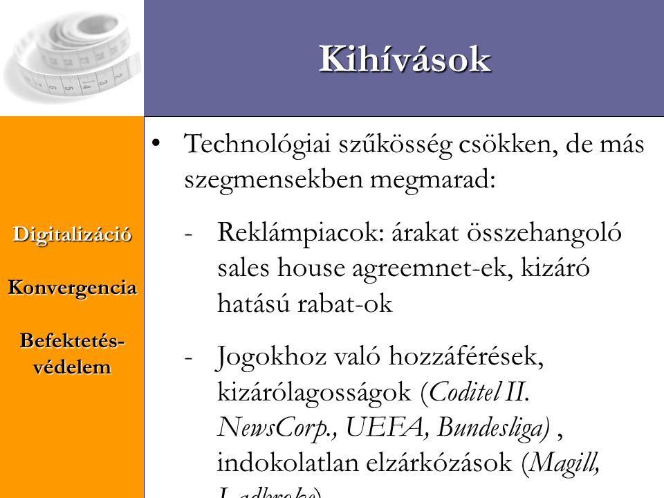 DigitalizációKonvergencia Befektetés- védelem Kihívások • Tartalom és átvitel közti összefonódások: - ösztönzöttség vizsgálata: EKSz 82.
