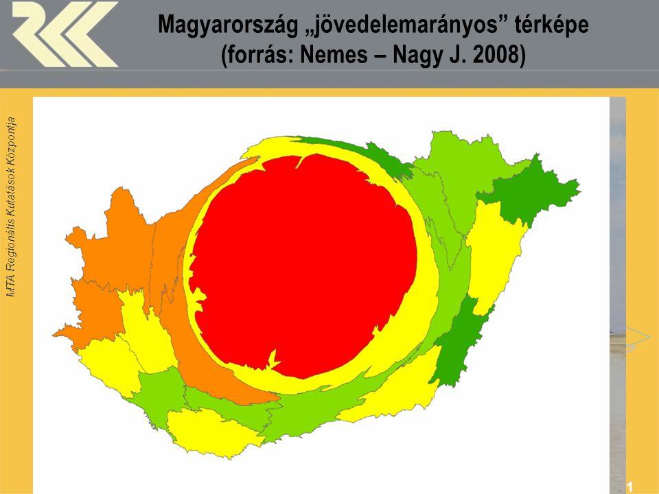 """MTA Regionális Kutatások Központja 21 Magyarország """"jövedelemarányos"""" térképe (forrás: Nemes – Nagy J. 2008)"""