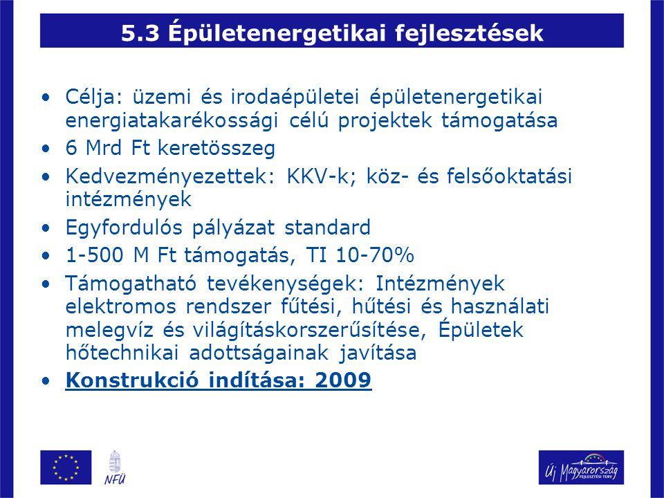 •Célja: üzemi és irodaépületei épületenergetikai energiatakarékossági célú projektek támogatása •6 Mrd Ft keretösszeg •Kedvezményezettek: KKV-k; köz-