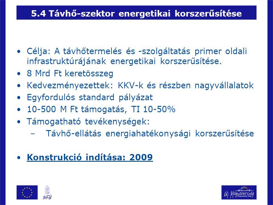 •Célja: A távhőtermelés és -szolgáltatás primer oldali infrastruktúrájának energetikai korszerűsítése. •8 Mrd Ft keretösszeg •Kedvezményezettek: KKV-k