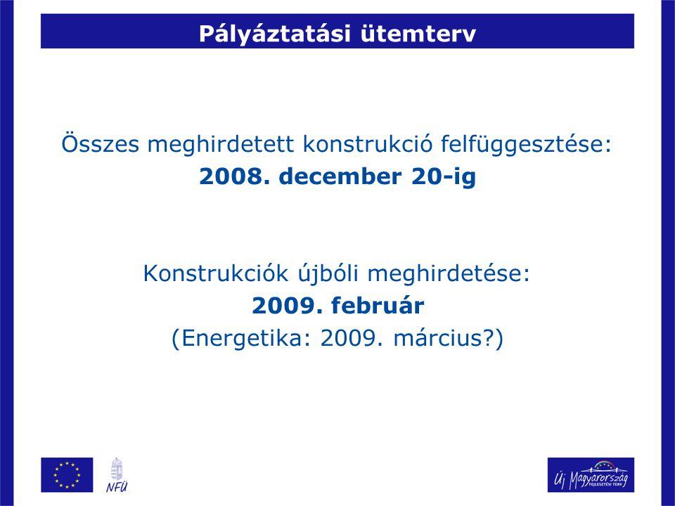 Pályáztatási ütemterv Összes meghirdetett konstrukció felfüggesztése: 2008. december 20-ig Konstrukciók újbóli meghirdetése: 2009. február (Energetika