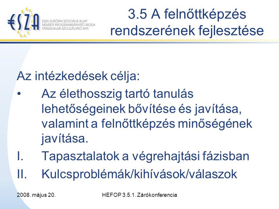 2008.május 20.HEFOP 3.5.1. Zárókonferencia Belső, szervezeti kihívások I: Ó, projektmenedzsment.