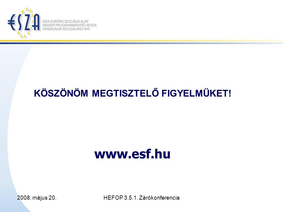 2008. május 20.HEFOP 3.5.1. Zárókonferencia KÖSZÖNÖM MEGTISZTELŐ FIGYELMÜKET! www.esf.hu