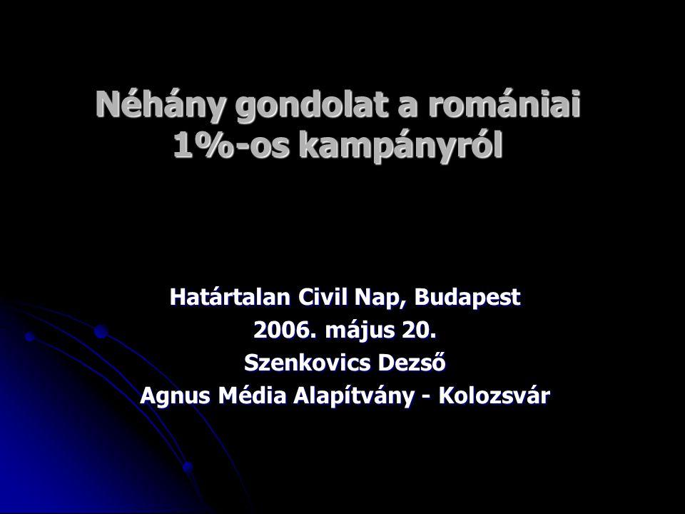Néhány szó a törvényes keretről  Romániában az 1%-os adófelajánlásról szóló törvényt 2003-ban fogadták el és 2005-ben lépett hatályba a törvény;  Ezt a törvényt módosították 2005-ben, az 1% helyett az SZJA 2%-át lehet az idéntől civil szervezetek számára felajánlani;  A felajánlási nyilatkozat része az adóbevallási ívnek, ezen a dokumentumon kell megjelölni a kedvezményezett civil szervezet nevét, adószámát és bankszámla számát;  A román törvény szerint nem feltétlenül szükséges kitölteni az SZJA 1 vagy 2%-nak összegét, amennyiben ez a mező üres marad, az adóhatóság számolja ki a felajánlható összeg nagyságrendjét;