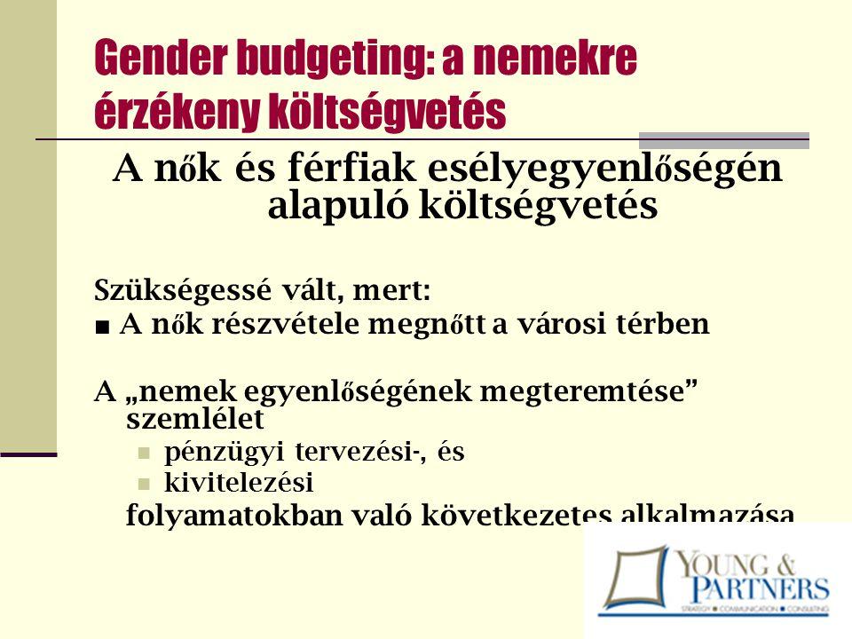 Gender budgeting: a nemekre érzékeny költségvetés A n ő k és férfiak esélyegyenl ő ségén alapuló költségvetés Szükségessé vált, mert: ■ A n ő k részvé
