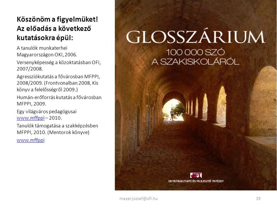 Köszönöm a figyelmüket! Az előadás a következő kutatásokra épül: A tanulók munkaterhei Magyarországon OKI, 2006. Versenyképesség a közoktatásban OFI,