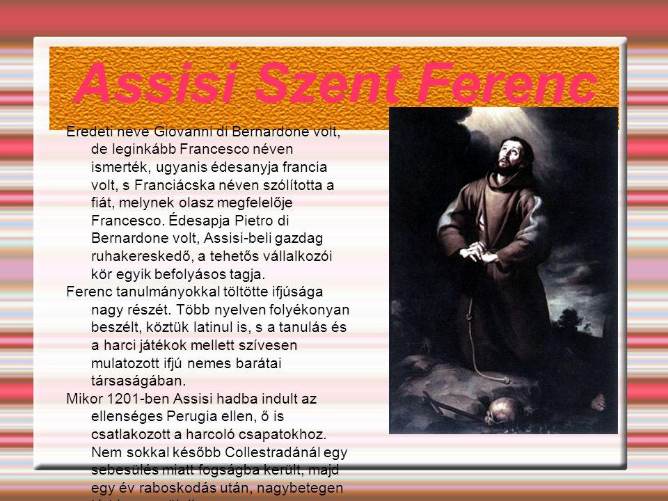 Assisi Szent Ferenc Eredeti neve Giovanni di Bernardone volt, de leginkább Francesco néven ismerték, ugyanis édesanyja francia volt, s Franciácska név