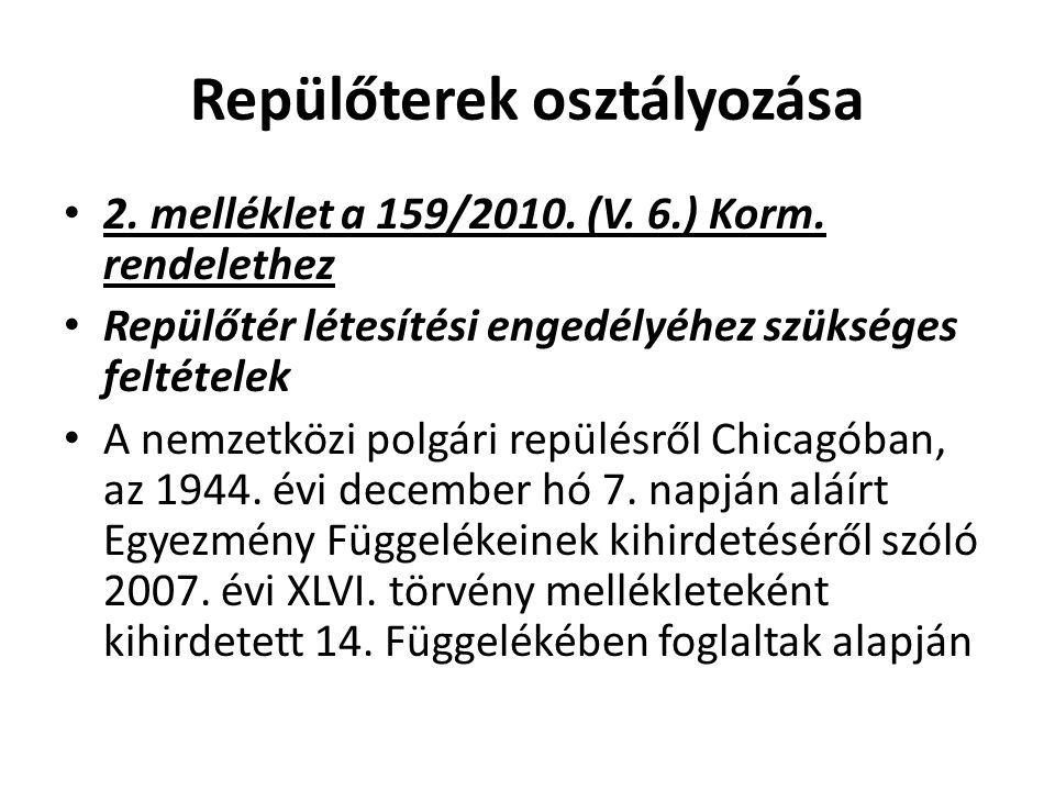 Repülőterek osztályozása • 2. melléklet a 159/2010. (V. 6.) Korm. rendelethez • Repülőtér létesítési engedélyéhez szükséges feltételek • A nemzetközi