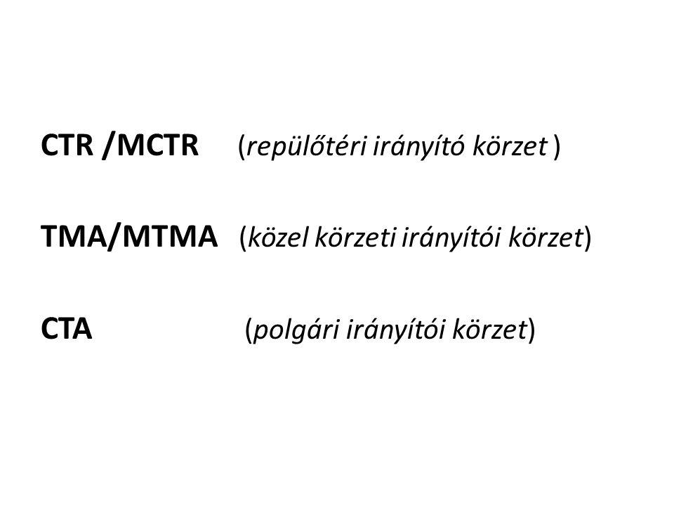 CTR /MCTR (repülőtéri irányító körzet ) TMA/MTMA (közel körzeti irányítói körzet) CTA (polgári irányítói körzet)