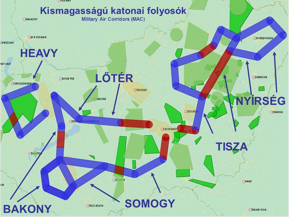 Kismagasságú katonai folyosók Military Air Corridors (MAC) HEAVY BAKONY SOMOGY LŐTÉR NYÍRSÉG TISZA
