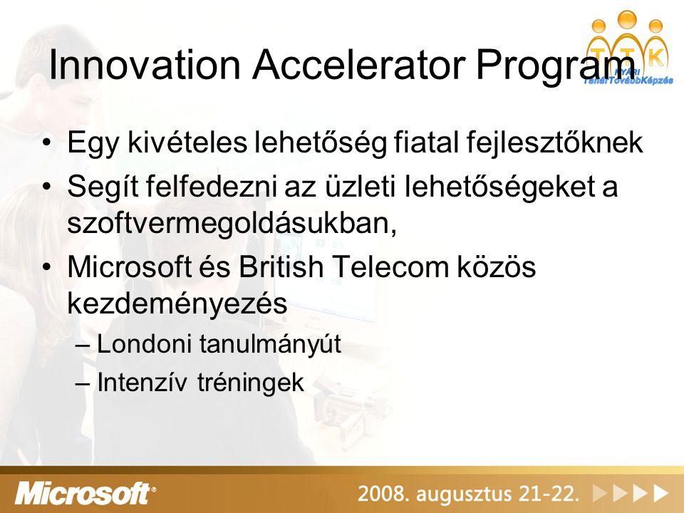 Innovation Accelerator Program •Egy kivételes lehetőség fiatal fejlesztőknek •Segít felfedezni az üzleti lehetőségeket a szoftvermegoldásukban, •Micro