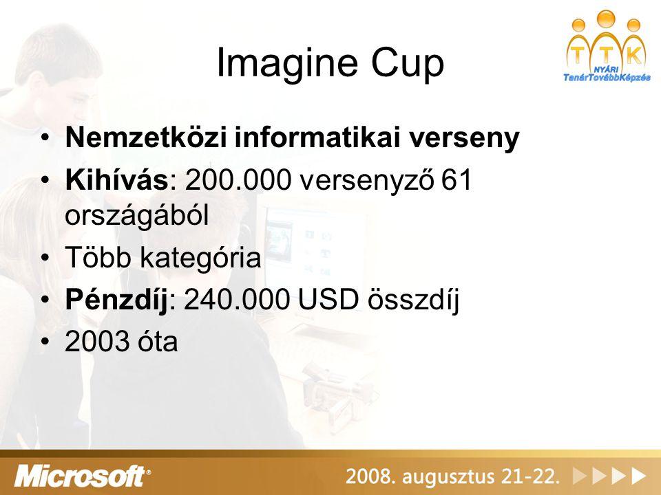 Imagine Cup •Nemzetközi informatikai verseny •Kihívás: 200.000 versenyző 61 országából •Több kategória •Pénzdíj: 240.000 USD összdíj •2003 óta