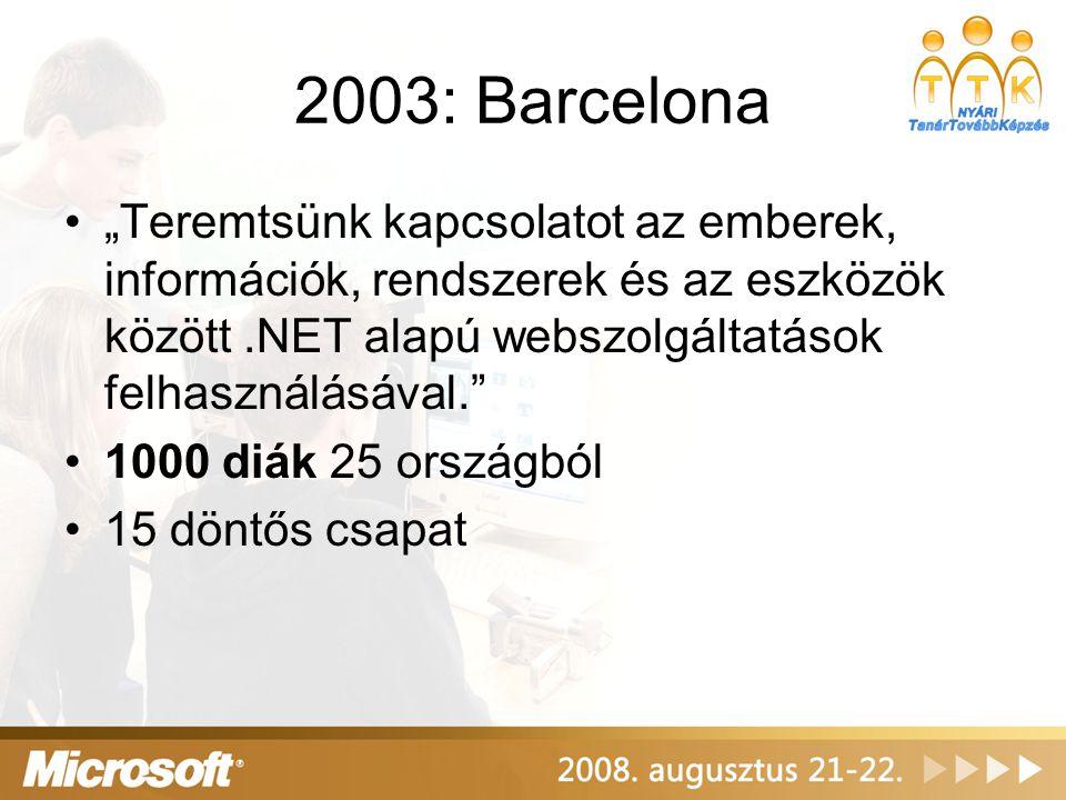"""2004: São Paulo, Brazília •""""Képzelj el egy világot, ahol a technológia megkönnyíti a mindennapokat. •10.000 versenyző 90 országból •150 döntős versenyző 40 csapatban •87.000 USD összdíj"""