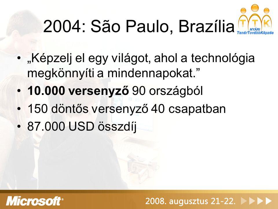 """2004: São Paulo, Brazília •""""Képzelj el egy világot, ahol a technológia megkönnyíti a mindennapokat."""" •10.000 versenyző 90 országból •150 döntős versen"""