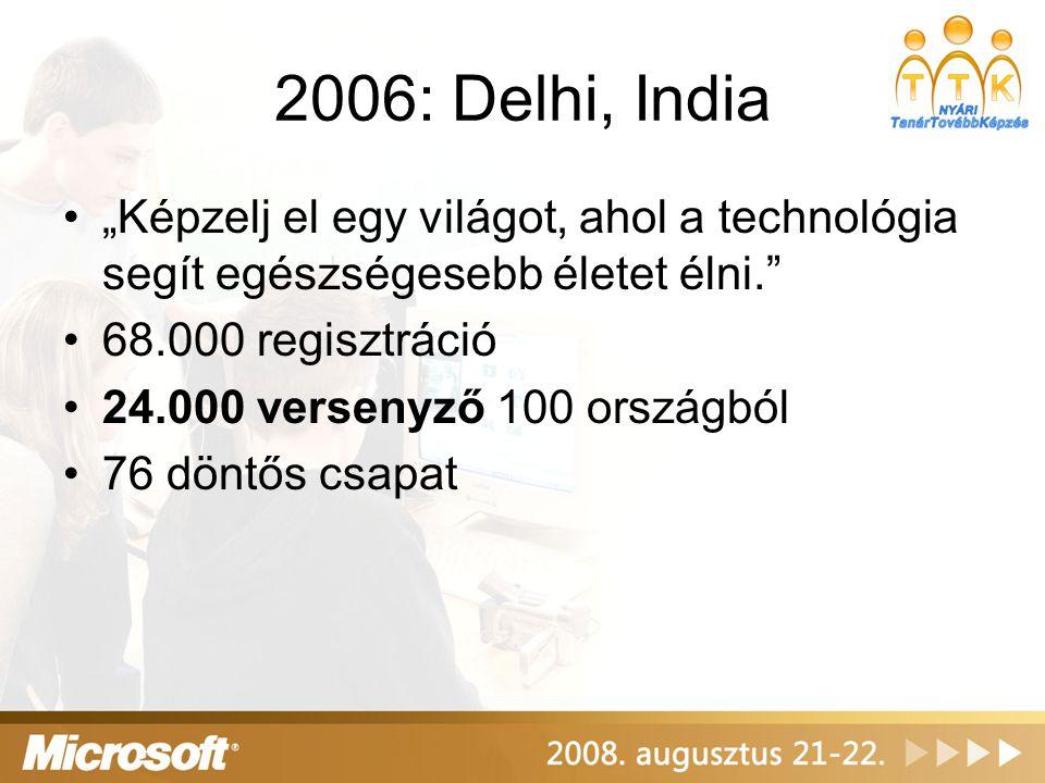 """2006: Delhi, India •""""Képzelj el egy világot, ahol a technológia segít egészségesebb életet élni."""" •68.000 regisztráció •24.000 versenyző 100 országból"""