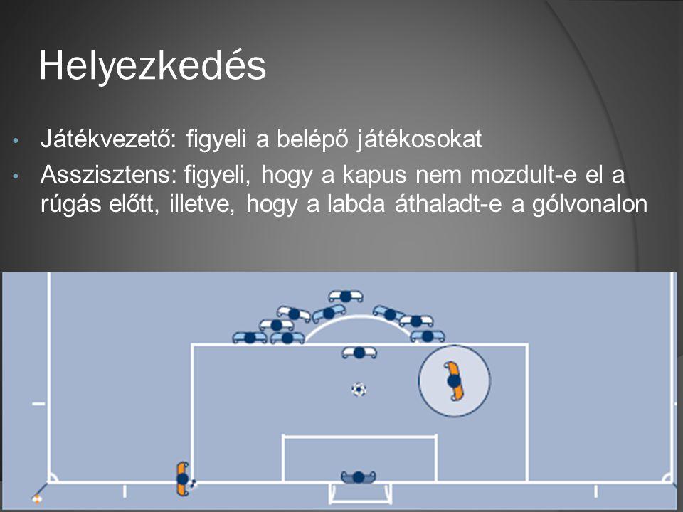 Helyezkedés • Játékvezető: figyeli a belépő játékosokat • Asszisztens: figyeli, hogy a kapus nem mozdult-e el a rúgás előtt, illetve, hogy a labda áthaladt-e a gólvonalon