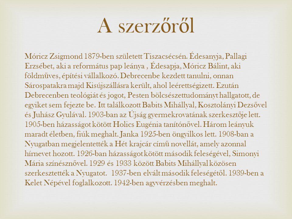 A szerz ő r ő l Móricz Zsigmond 1879-ben született Tiszacsécsén. Édesanyja, Pallagi Erzsébet, aki a református pap leánya, Édesapja, Móricz Bálint, ak