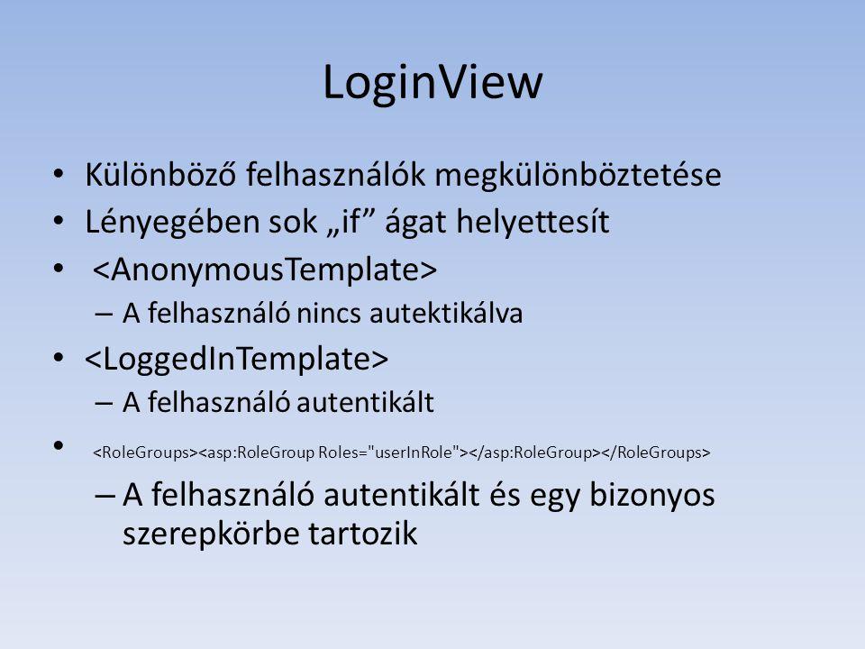 """LoginView • Különböző felhasználók megkülönböztetése • Lényegében sok """"if"""" ágat helyettesít • – A felhasználó nincs autektikálva • – A felhasználó aut"""